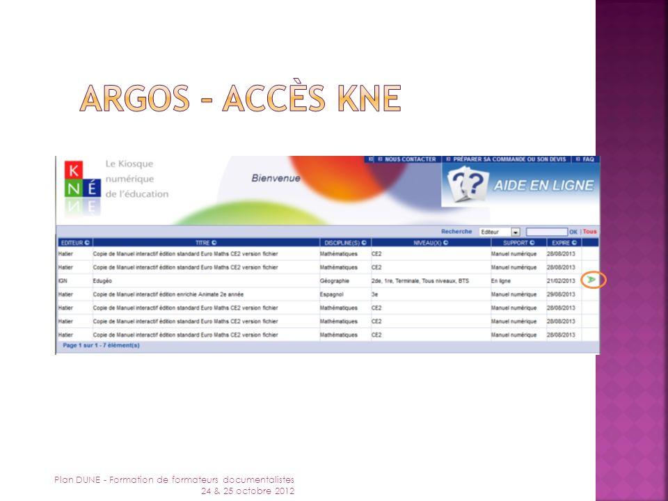 Argos – accès KNE Plan DUNE - Formation de formateurs documentalistes 24 & 25 octobre 2012