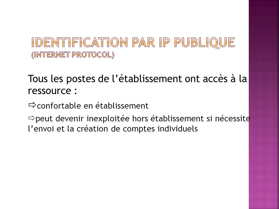 Identification par IP publique (Internet protocol)