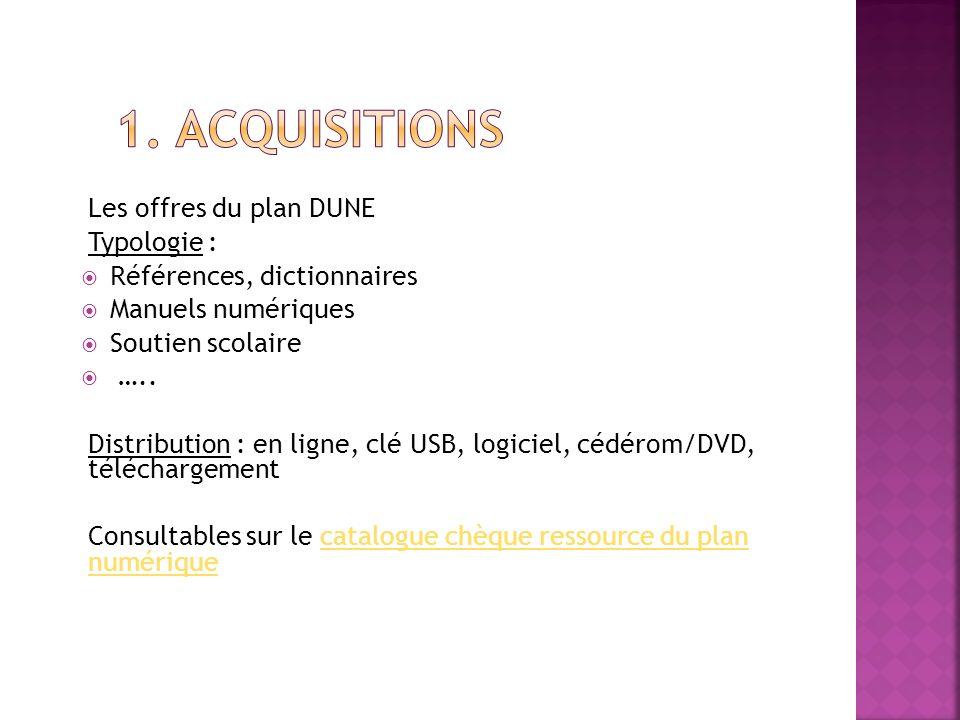 1. Acquisitions Les offres du plan DUNE Typologie :