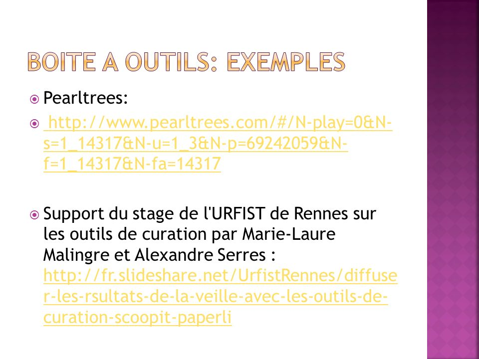 Boite a outils: exemples