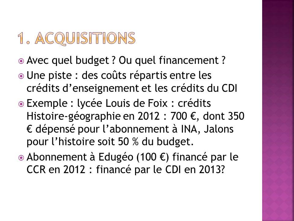 1. Acquisitions Avec quel budget Ou quel financement