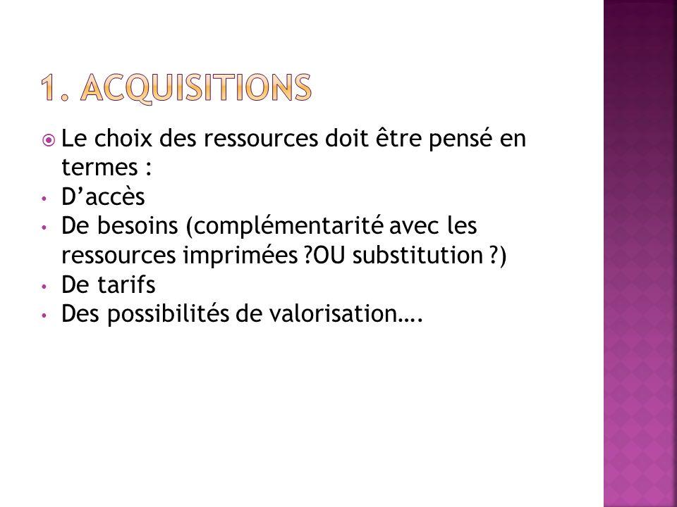 1. Acquisitions Le choix des ressources doit être pensé en termes :