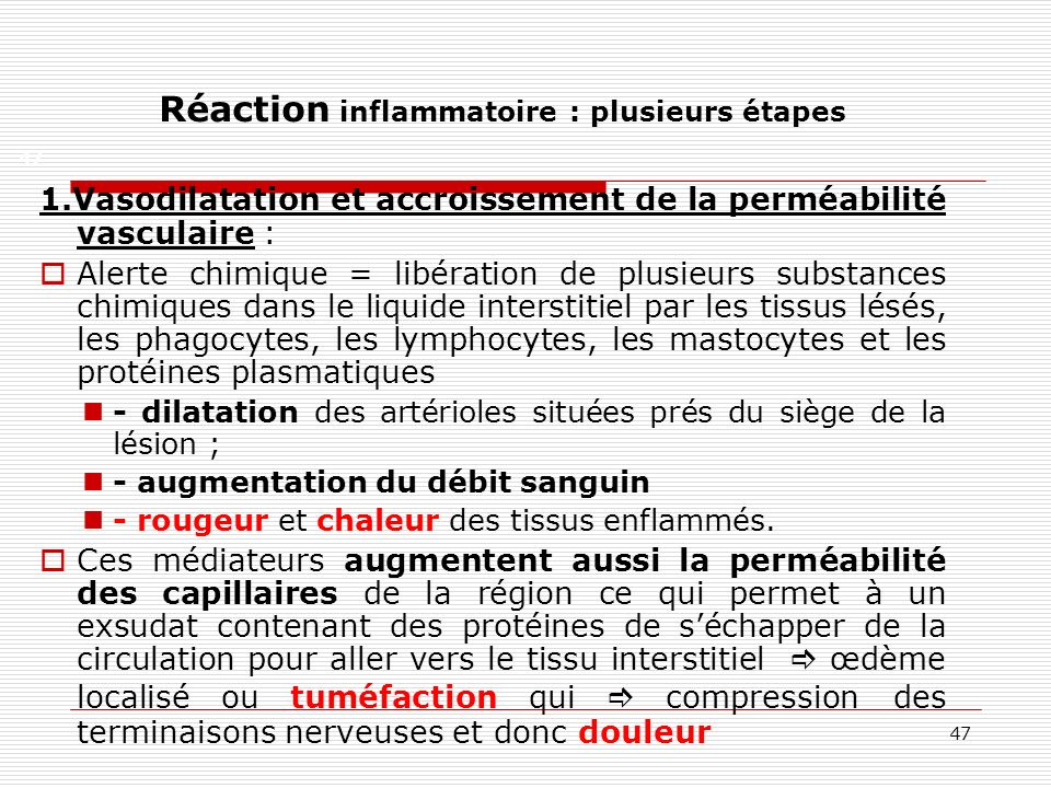 Réaction inflammatoire : plusieurs étapes