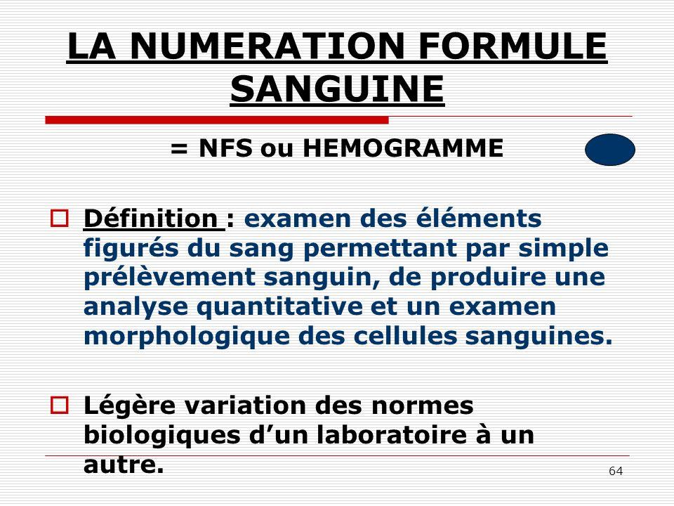 LA NUMERATION FORMULE SANGUINE