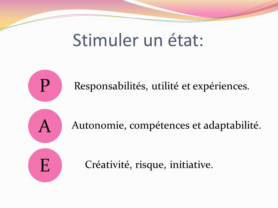 Stimuler un état: P A E Responsabilités, utilité et expériences.