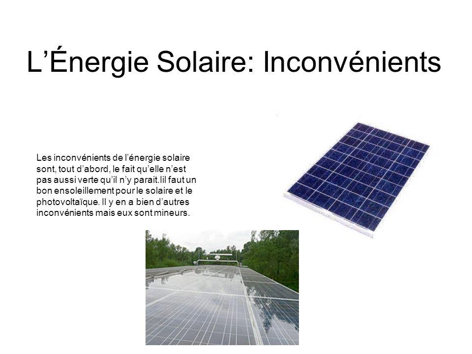 L'Énergie Solaire: Inconvénients