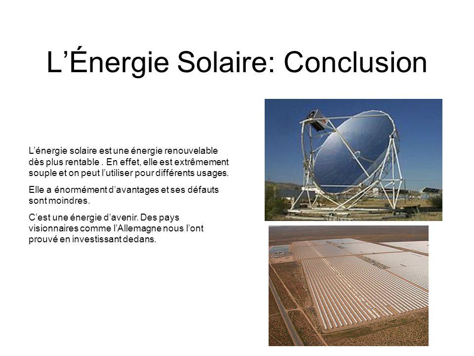 L'Énergie Solaire: Conclusion
