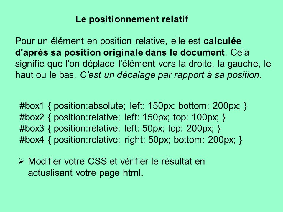 Le positionnement relatif