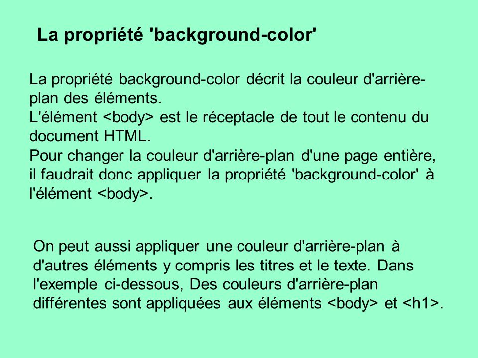 La propriété background-color