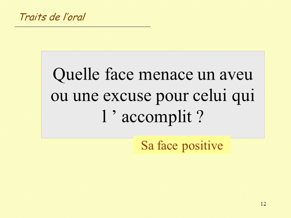 Traits de l'oral Quelle face menace un aveu ou une excuse pour celui qui l ' accomplit .