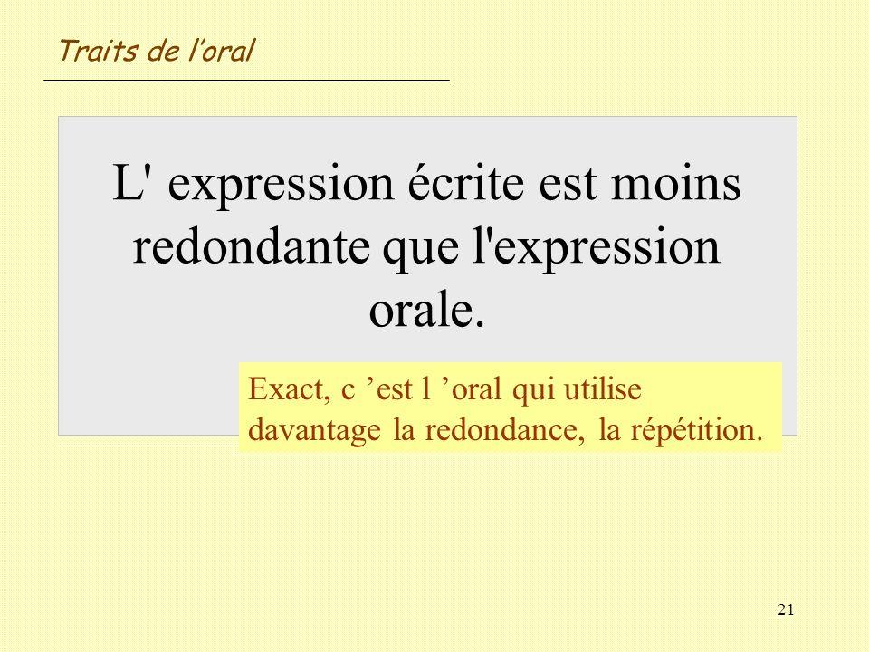 Traits de l'oral L expression écrite est moins redondante que l expression orale. Vrai / Faux