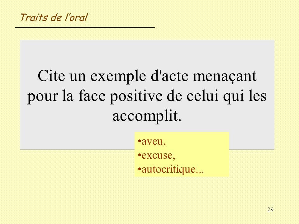 Traits de l'oral Cite un exemple d acte menaçant pour la face positive de celui qui les accomplit. aveu,