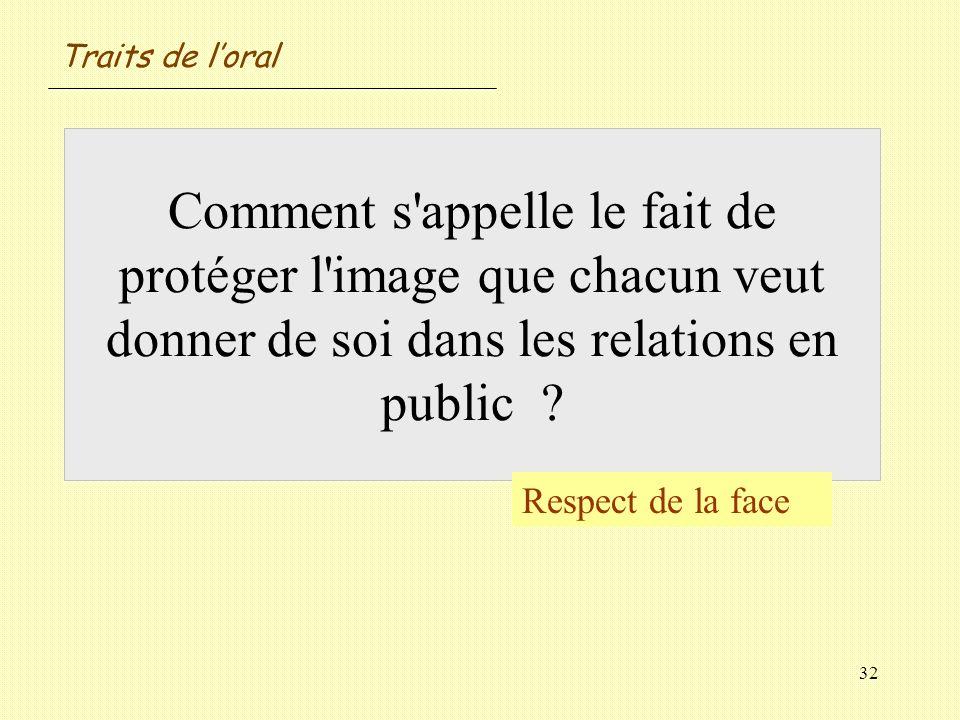 Traits de l'oral Comment s appelle le fait de protéger l image que chacun veut donner de soi dans les relations en public