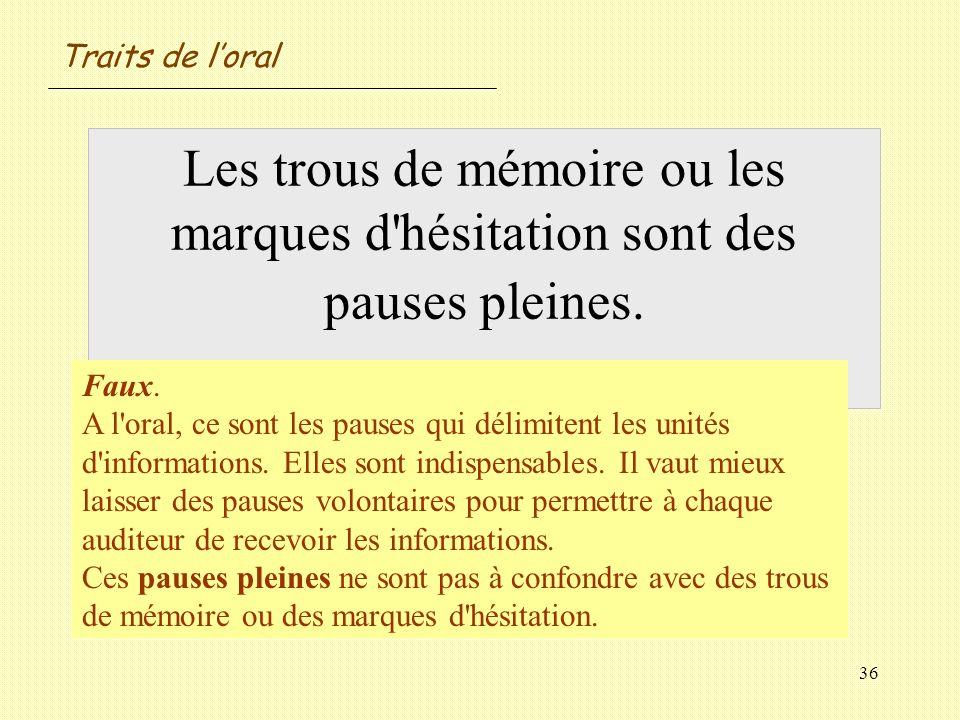 Traits de l'oral Les trous de mémoire ou les marques d hésitation sont des pauses pleines. Vrai / Faux