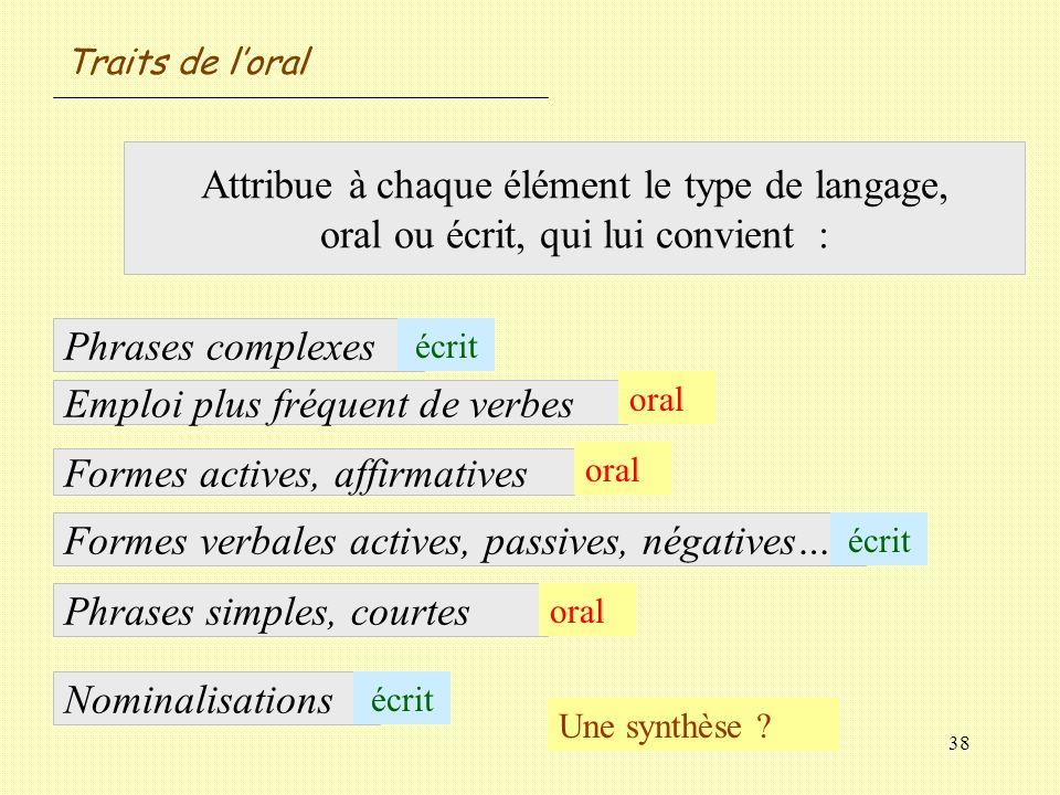 Emploi plus fréquent de verbes