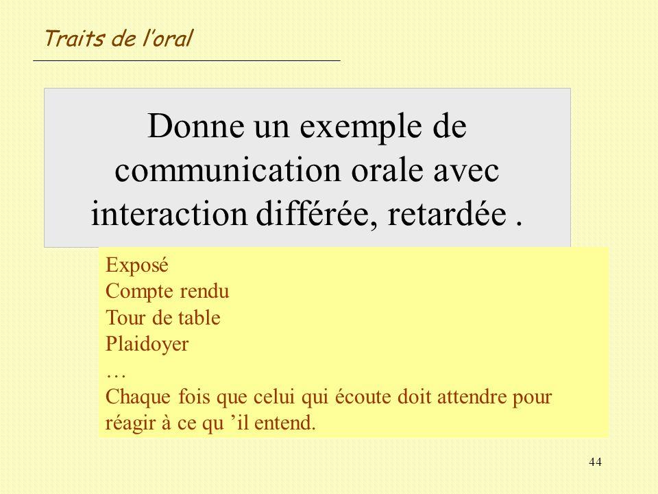 Traits de l'oral Donne un exemple de communication orale avec interaction différée, retardée . Exposé.