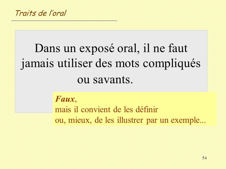 Traits de l'oral Dans un exposé oral, il ne faut jamais utiliser des mots compliqués ou savants. Vrai / Faux