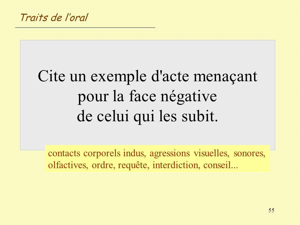 Traits de l'oralCite un exemple d acte menaçant pour la face négative de celui qui les subit.