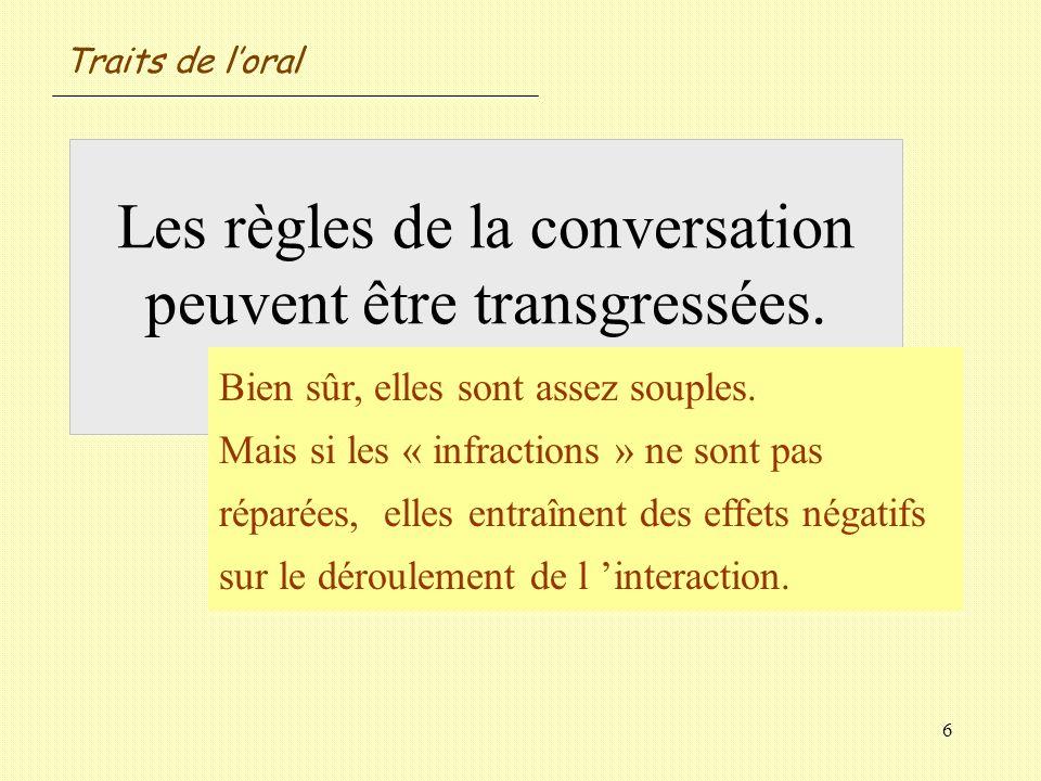 Les règles de la conversation peuvent être transgressées. Oui / Non