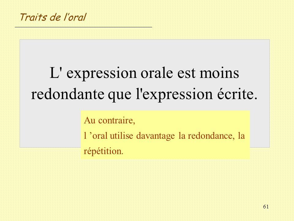 Traits de l'oral L expression orale est moins redondante que l expression écrite. Vrai / Faux