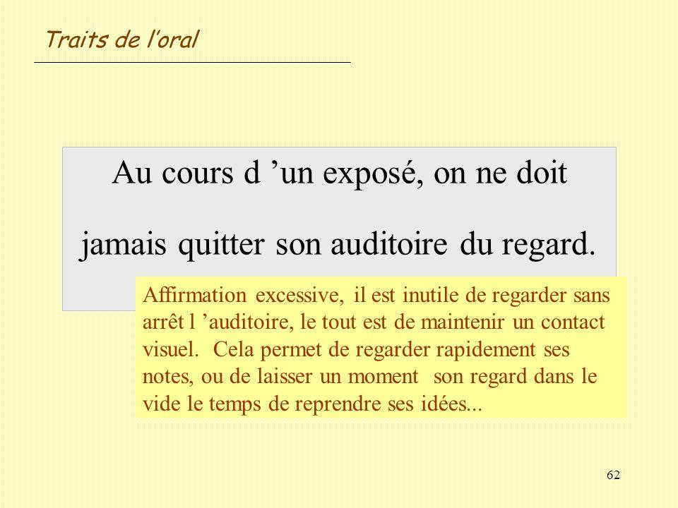 Traits de l'oral Au cours d 'un exposé, on ne doit jamais quitter son auditoire du regard. Vrai / Faux