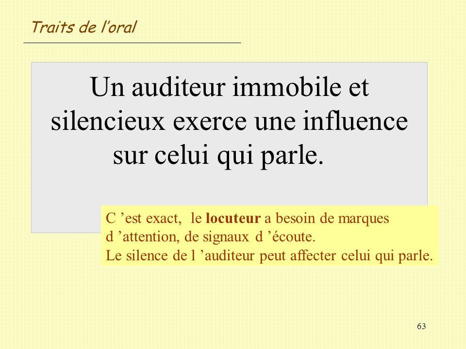 Traits de l'oral Un auditeur immobile et silencieux exerce une influence sur celui qui parle. Vrai / Faux