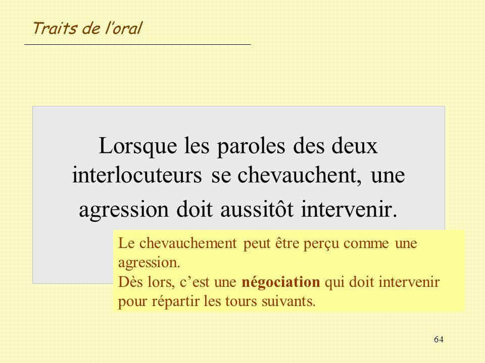 Traits de l'oral Lorsque les paroles des deux interlocuteurs se chevauchent, une agression doit aussitôt intervenir. Vrai / Faux