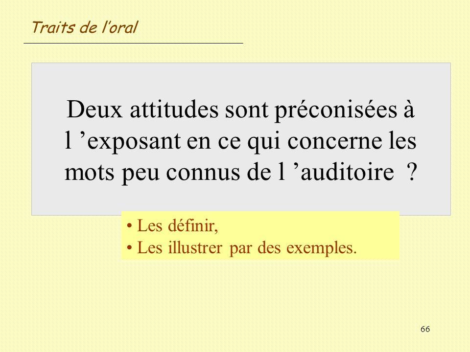 Traits de l'oral Deux attitudes sont préconisées à l 'exposant en ce qui concerne les mots peu connus de l 'auditoire