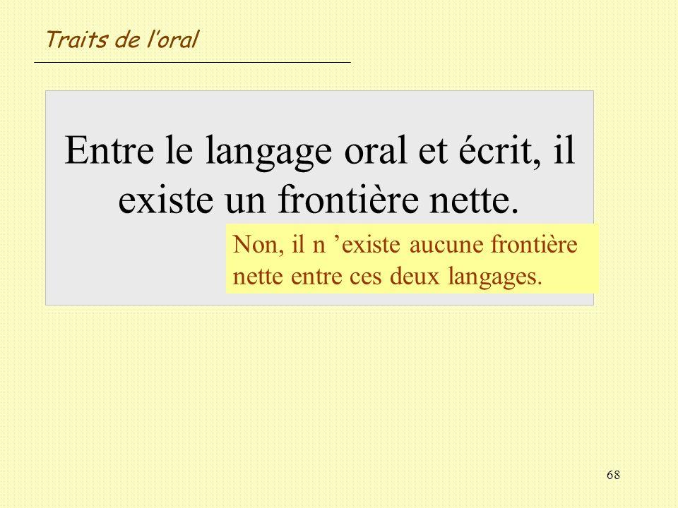 Traits de l'oral Entre le langage oral et écrit, il existe un frontière nette. Vrai / Faux