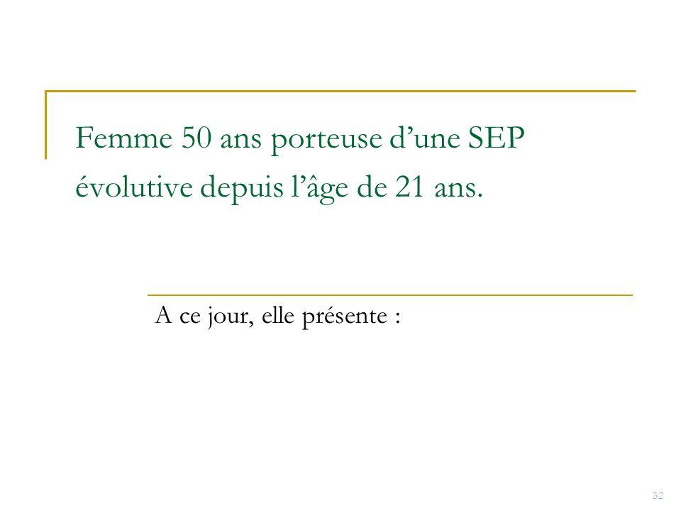 Femme 50 ans porteuse d'une SEP évolutive depuis l'âge de 21 ans.