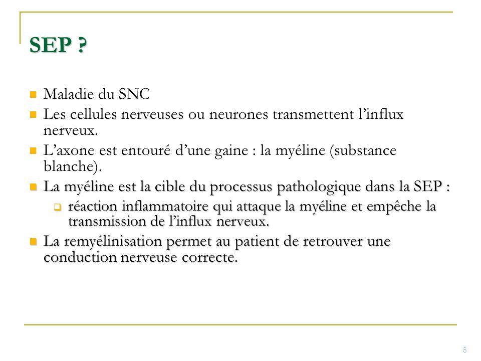 SEP Maladie du SNC. Les cellules nerveuses ou neurones transmettent l'influx nerveux.