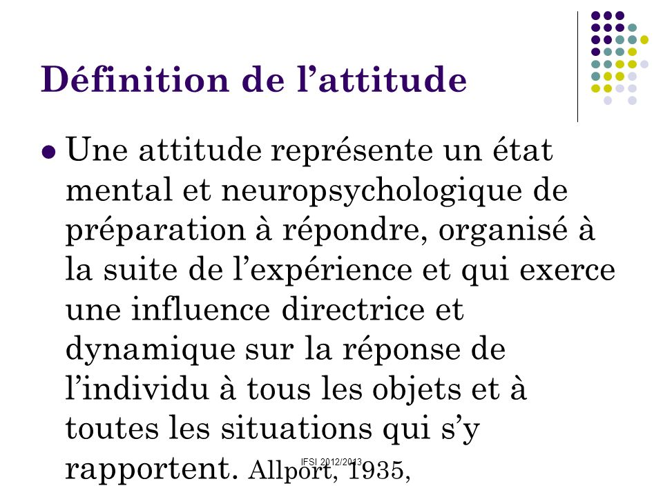 Définition de l'attitude