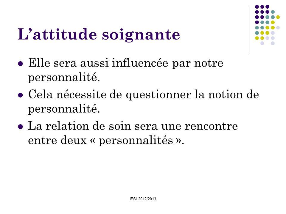 L'attitude soignanteElle sera aussi influencée par notre personnalité. Cela nécessite de questionner la notion de personnalité.