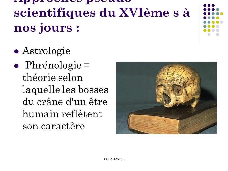 Approches pseudo-scientifiques du XVIème s à nos jours :