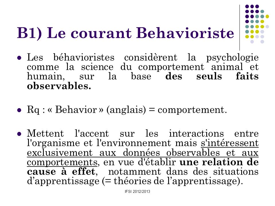 B1) Le courant Behavioriste