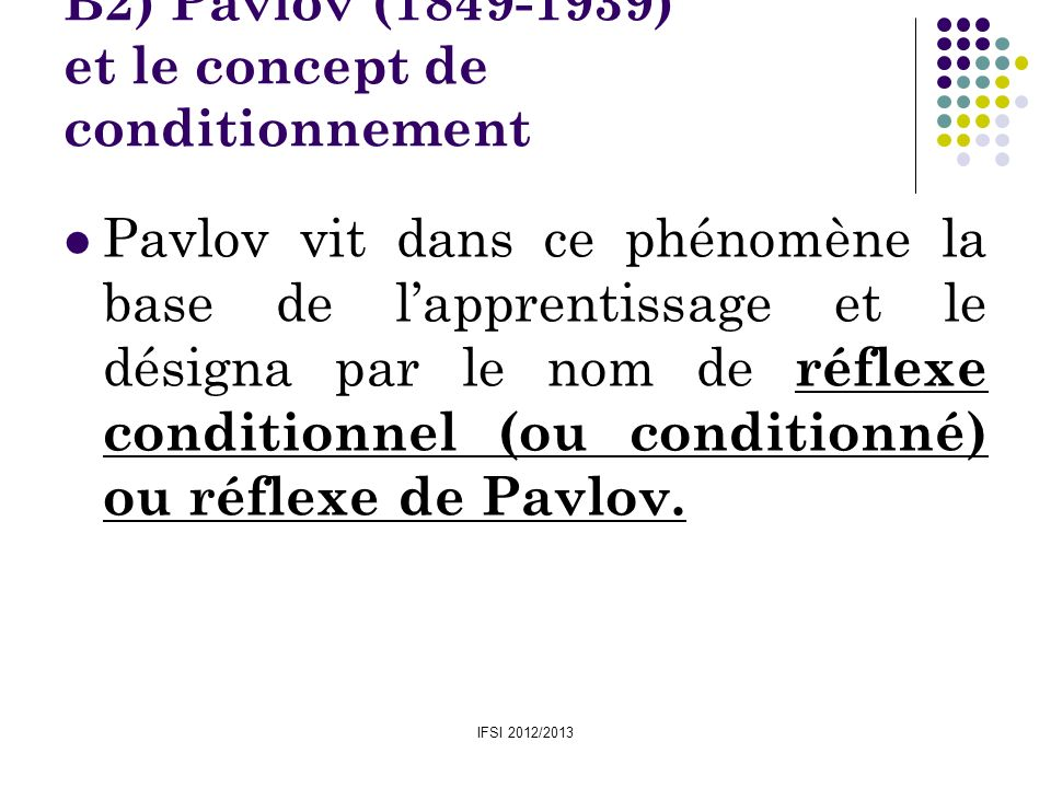 B2) Pavlov (1849-1939) et le concept de conditionnement