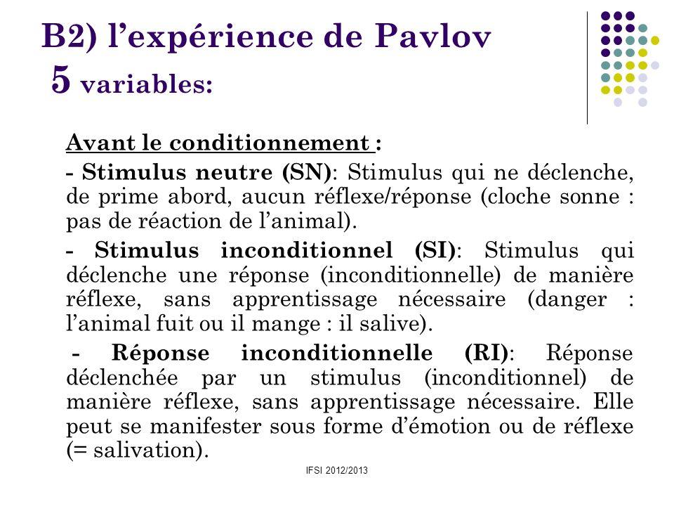 B2) l'expérience de Pavlov 5 variables: