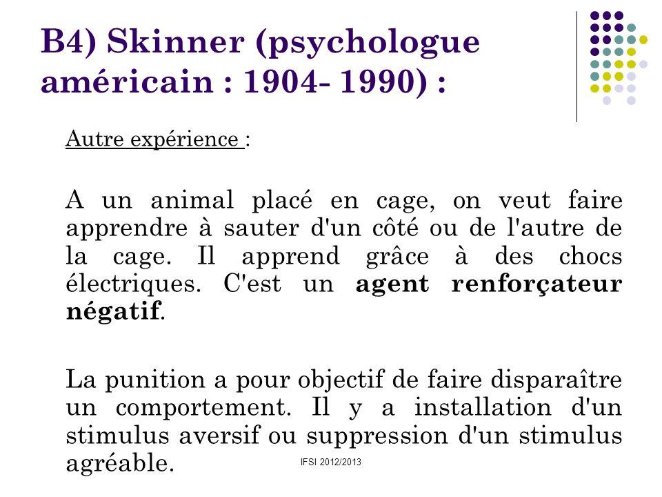 B4) Skinner (psychologue américain : 1904- 1990) :