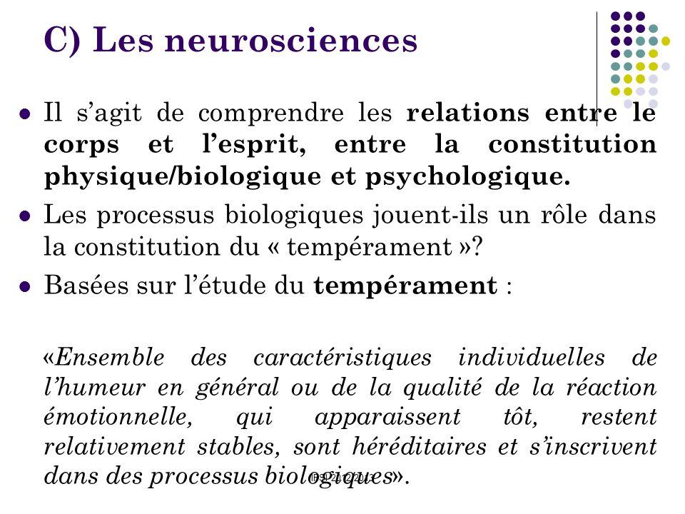 C) Les neurosciencesIl s'agit de comprendre les relations entre le corps et l'esprit, entre la constitution physique/biologique et psychologique.