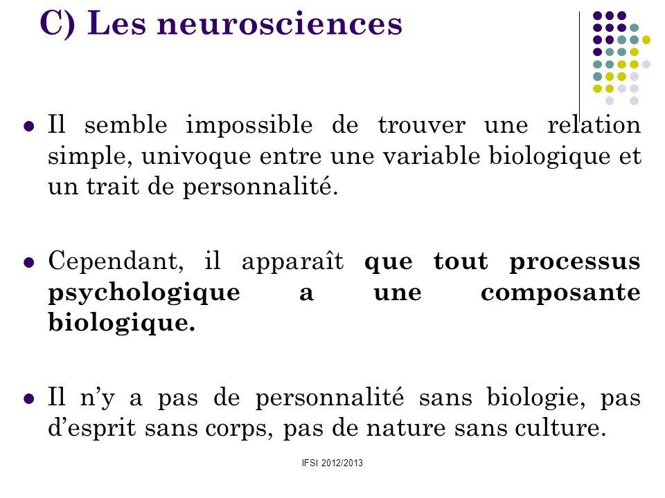 C) Les neurosciencesIl semble impossible de trouver une relation simple, univoque entre une variable biologique et un trait de personnalité.