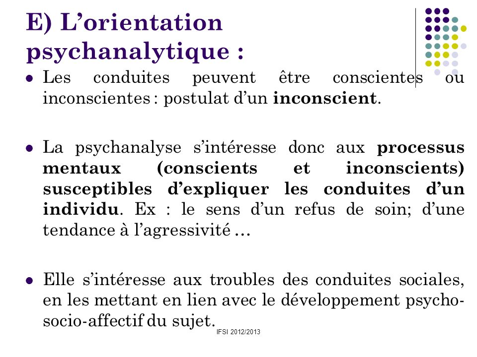 E) L'orientation psychanalytique :