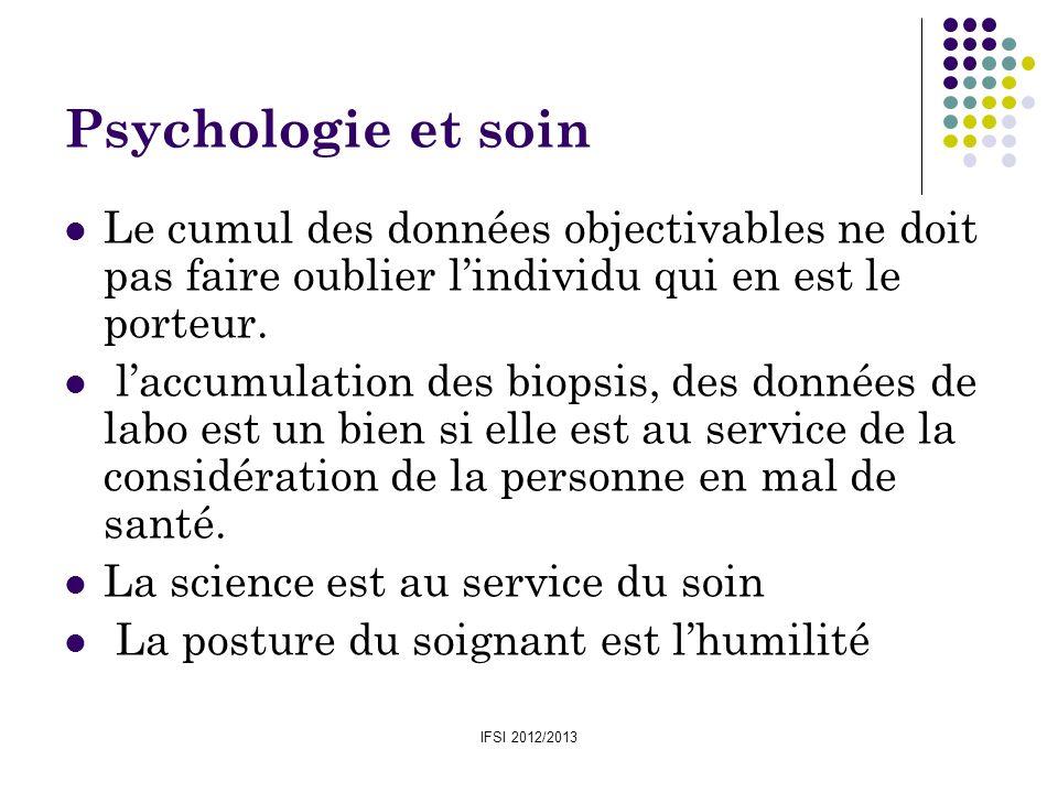 Psychologie et soinLe cumul des données objectivables ne doit pas faire oublier l'individu qui en est le porteur.