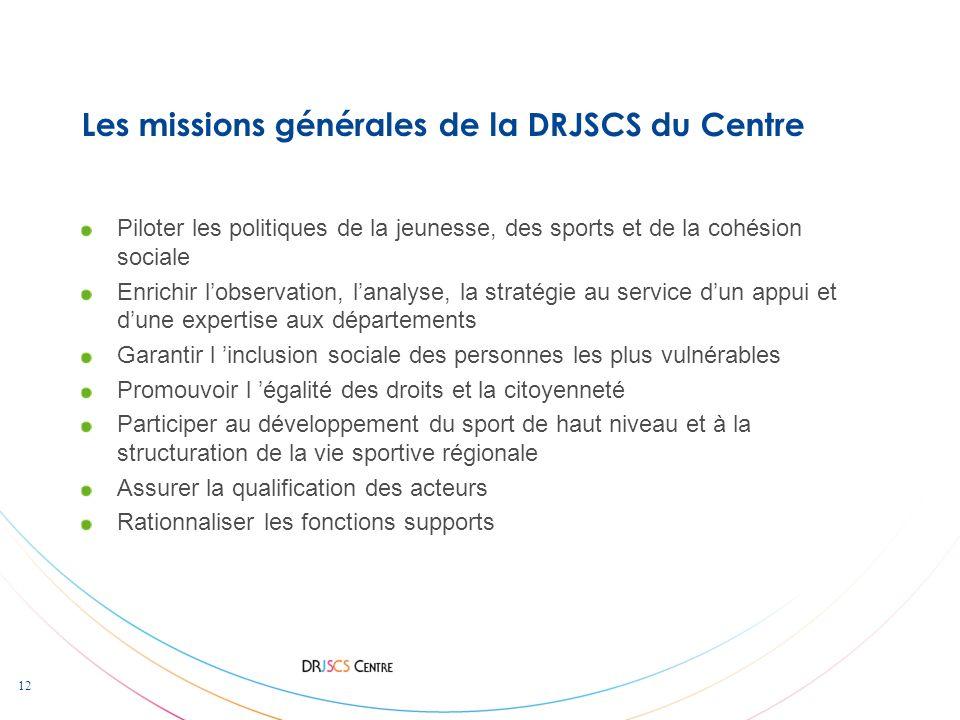 Les missions générales de la DRJSCS du Centre