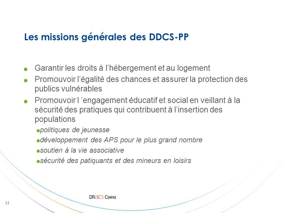 Les missions générales des DDCS-PP