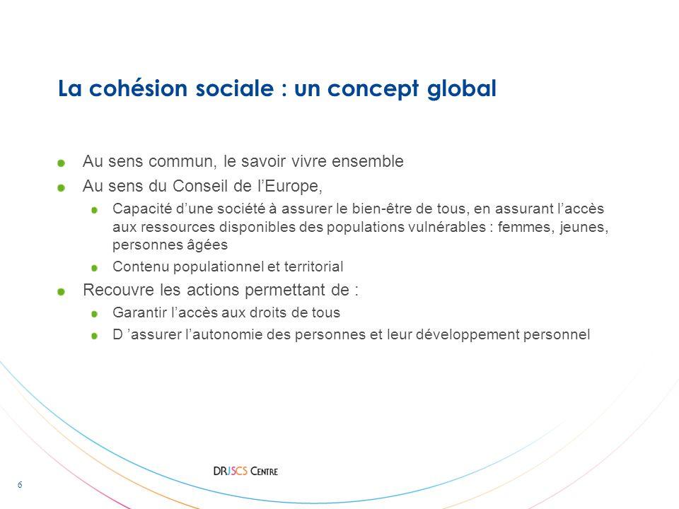 La cohésion sociale : un concept global