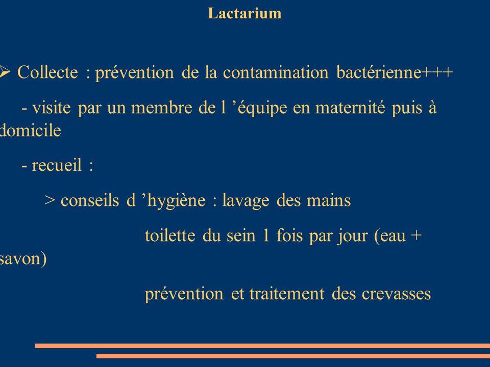 Collecte : prévention de la contamination bactérienne+++