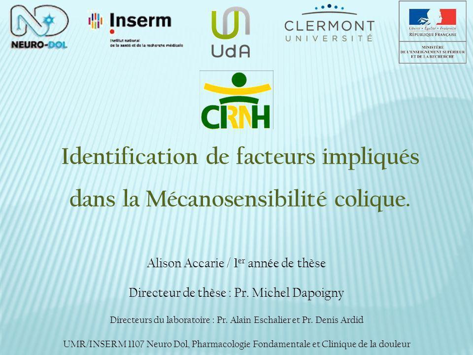 Identification de facteurs impliqués dans la Mécanosensibilité colique.