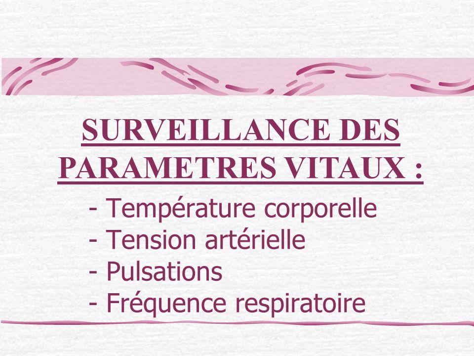 SURVEILLANCE DES PARAMETRES VITAUX :
