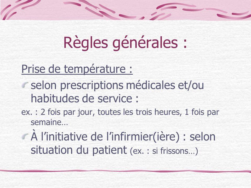 Règles générales : Prise de température :