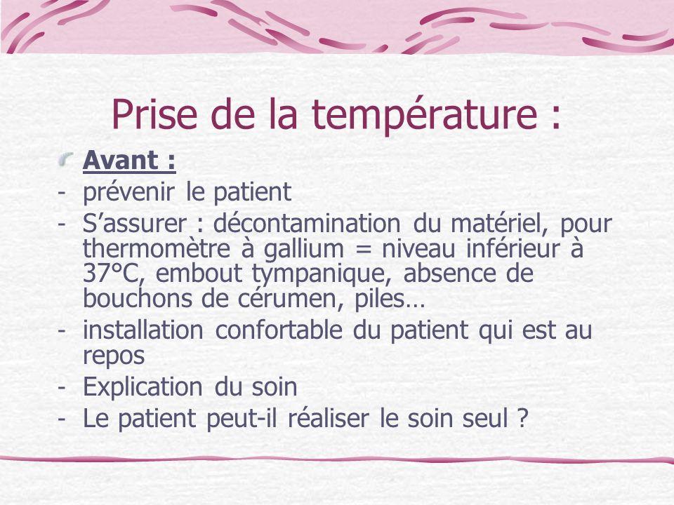 Prise de la température :